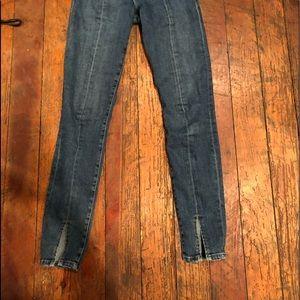 frame denim front split jeans
